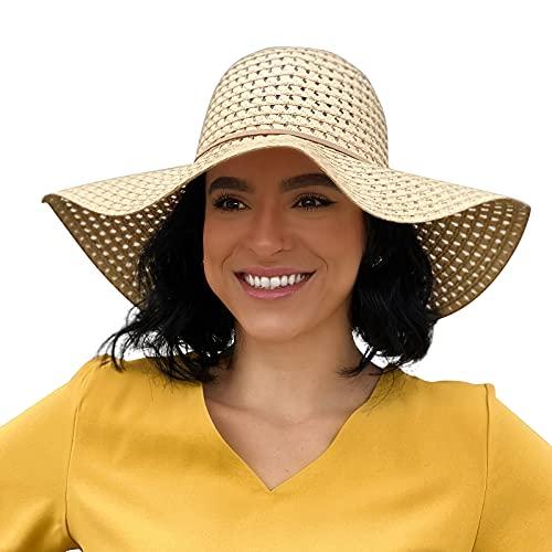 Sowift Summer Sun Straw Hats for Women Foldbale Roll Up Beach Cap Wide Brim Packable UV Hat UPF50+