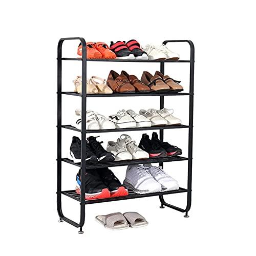 Zapatero 5 niveles de hierro zapato estante moderno moderno zapato zapato zapato zapato soporte de zapato para entrada de pasillo de entrada dormitorio Zapatera ( Color : Black , tamaño : 60*28*86cm )
