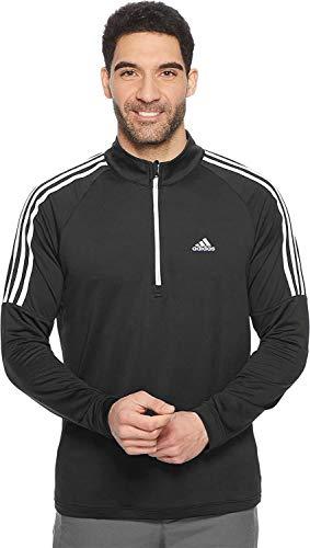 adidas Men's ADVS20R736 3 Stripe Shoulders French Terry 1/4 Zip Pullover (Black, Medium)