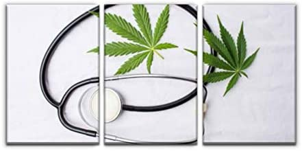 Gracelapin Canvas Wall Art Decor Medical Marijuana and a Stethoscope Printed Oil Painting Home product image