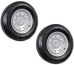 2-Pk Radial Trailer Tire On Rim ST205/75R15 205/75-15 5 Lug Silver Modular Wheel