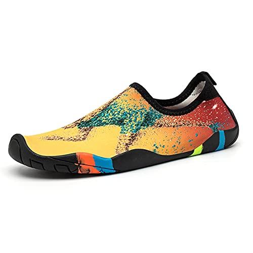 SHENGWEI Zapatos de agua descalzos para buceo, esnórquel, unisex, para practicar rafting, wading, playa suave de secado rápido, agua antideslizante, zapatos de playa (color oro olímpico, tamaño: 35)