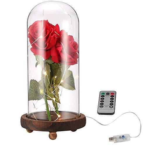ALLOMN Rose Brillo de Seda Artificial Rosa con Pantalla de Cristal Control Remoto Tira de Luces LED Carga USB Gran Regalo para el día de San Valentín Día de la Madre Cumpleaños de Navidad