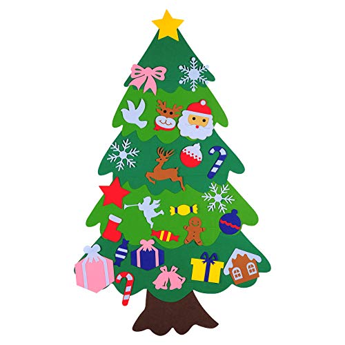 3.7 Ft DIY Felt Christmas Tree Set with 25 Ornaments for Kids, Xmas Gifts, New Year Door Wall Hanging for Christmas Decorations (stysle 2)