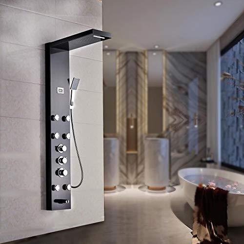 Saeuwtowy Ducha Columna de hidromasaje para ducha (acero inoxidable) Columna de hidromasaje de Hidromasaje Termostático Negra Moderna 4 Función Acero Inoxidable con Pantalla LCD para Baño