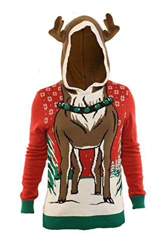 Ugly Christmas Sweater Party Men's Hooded Reindeer Long Sleeve Sweatshirt-Small Red