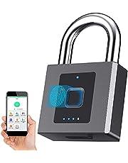 Vingerafdruk hangslot, Bluetooth Lock hangslot met mobiele APP, 1 cm hangslot Shackle Smart Lock, Unlock Record, Outdoor Waterdicht, voor magazijn, bouwplaats, Gate