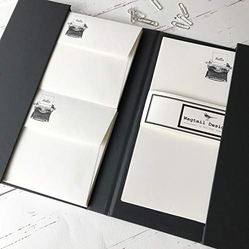 Stelzen (Gattung) Designs Schreibpapier Geschenk-Set mit einem Schreibmaschine Illustration in a Lovely schwarz Box mit Band (wählen Sie aus 12,18oder 36Blatt Qualität Schreibpapier mit passenden Umschlägen) Ivory (Cream)