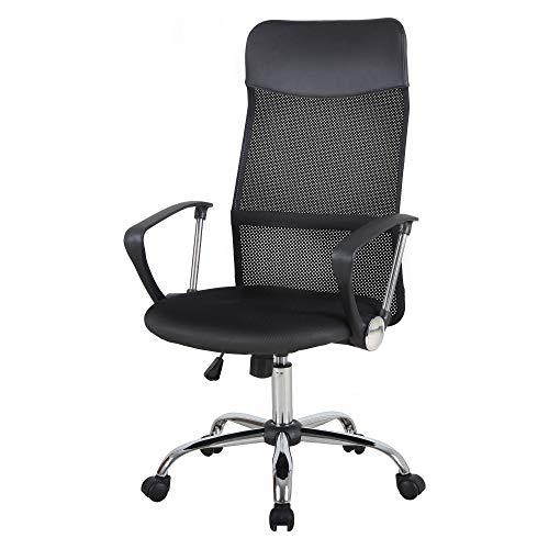 HOMCOM Swivel Executive Office Chair Task High Back Mesh Desk Chairs Height Adjustable Armchair for Home, Black