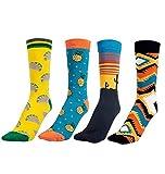 LHKJ 4 pcs Calcetines para Hombre Calcetines de Algodón de Colores Calcetines Divertidos