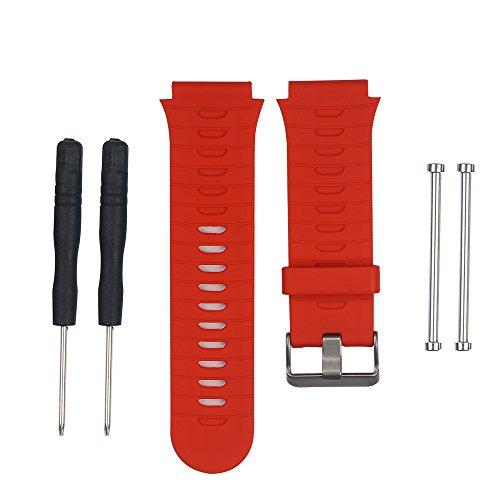 KEESIN Silikon Handgelenk Band Verstellbar Sport Outdoor Armbanduhr Band Ersatz Armband für Garmin Forerunner 920 X T mit Original Schraube und Zerlegen Werkzeug (Rot)