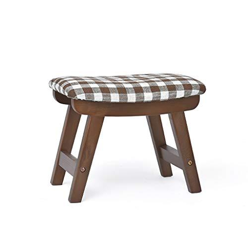 Hocker Home Change Schuhe Stoff Sofa Erwachsenen Fuß Holz Ulmen-, Abbruch-und Wasch-Design, Starke Tragfähigkeit (Farbe : Braun)
