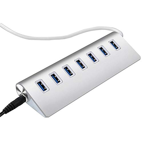 Hub USB 3.0 XWU, Hub de dados USB de 7 portas de alumínio com cabo USB para MacBook, Mac Pro, Mac Mini, iMac, Surface Pro, XPS, PC, Flash Drive, HDD móvel