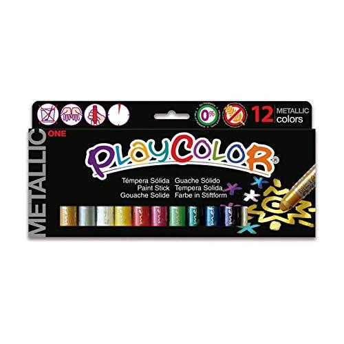 Playcolor Metallic one - Tempera sólida - 12 colores surtidos - 10121
