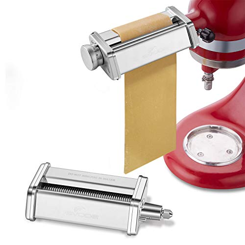 Pasta Roller & Spaghetti Cutter Attachment for KitchenAid Stand Mixers,Stainless Steel Pasta Sheet...