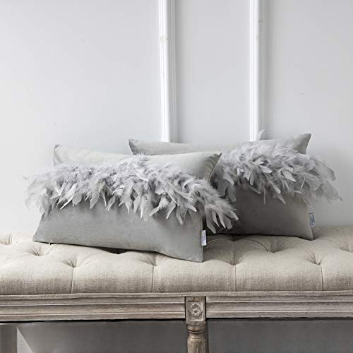 Ashler Pack of 2 Throw Pillow Cases Luxury Decorative Soft Velvet Cushion Covers with Feather for Couch Bed Living Room and Office Chair, Light Grey 12 x 20 inches 30 cm x 50 cm
