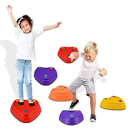 KOSIEJINN 6 Balance Stepping Stones - Gioco di coordinazione corsa a ostacoli per bambini - Interno o esterno - Pietre di fiume con fondo in gomma in 3 dimensioni e ripidità variabili | Max 220 libbre