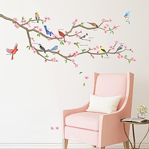 DECOWALL DAT-2004 Garden Birds en la rama de un árbol Vinilo Pegatinas Decorativas Adhesiva Pared Dormitorio Saln Guardera Habitaci Infantiles Nios Bebs