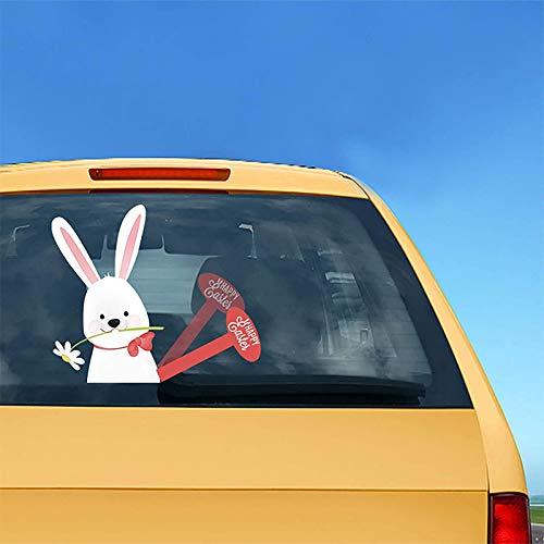 PHLPS Aufkleber Auto Aufkleber Kaninchen Aufkleber Ostern Auto Aufkleber Abnehmbare Material Osterhasen Wischer Aufkleber Selbstklebende Abziehbilder Wasserdicht (Color : B)