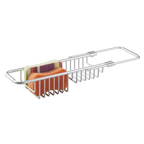 mDesign Organizador de fregadero – Accesorios de cocina con portaesponjas para guardar utensilios - Se ubica sobre el fregadero – También como jabonera y portaestropajos – Aluminio