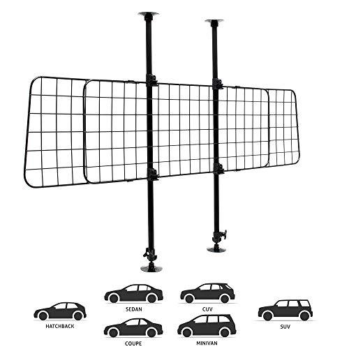 Wiltec Hundegitter fürs Auto mit stufenlos Verstellbarer Höhe & Breite, Trenngitter universell einsetzbar