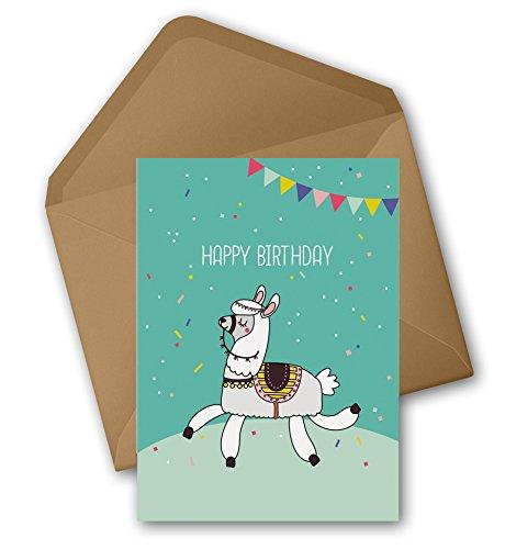 Lama/Alpaka Karte: Happy Birthday (Geburtstagskarte mit Umschlag, Recycling-Papier)