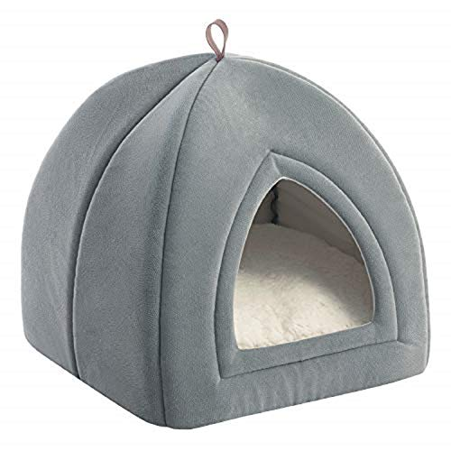 Bedsure Pet Tent Cave Bed for Cats/Small Dogs - 35x35x38cm 2-In-1 Cat Tent/Cat Bed House with Removable Washable Cushion Pillow - Microfiber Indoor Outdoor Pet Beds, Light Grey