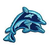 bebé delfín - Parches termoadhesivos bordados aplique para ropa, tamaño: 6,9 x 4,1 cm