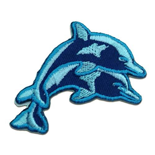 Aufnäher/Bügelbild - Baby Delfin - blau - 6.9 x 4.1 cm - Patch Aufbügler Applikationen zum aufbügeln Applikation Patches Flicken