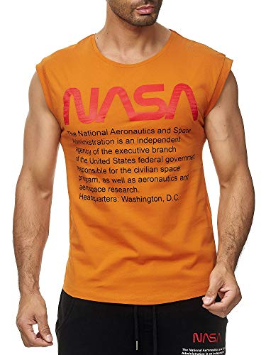 Red Bridge Herren Tank Top T-Shirt NASA Logo USA Ärmellos Baumwolle M1838 Orange M