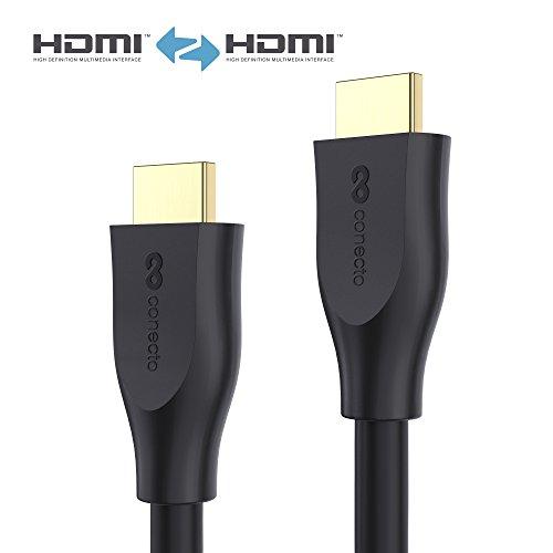 conecto CC50377 Premium Zertifiziertes High Speed HDMI Kabel mit Ethernet, gegossener Designstecker, vergoldete Anschlüsse, 1,0m schwarz