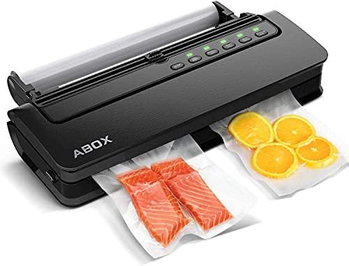 ABOX Envasadora al vacío 5 en 1 automática con cúter para alimentos secos y húmedos, incluye rollos de vacío y manguera de vacío, color negro