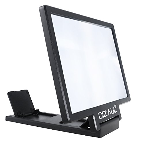 Screen Magnifier,Dizaul Cell Phone 3D HD Movie Video Amplifier with Foldable Holder Stand for iPhone 7/7 Plus/6/6s/6 Plus/6s Plus and All other Smart Phones (Black)