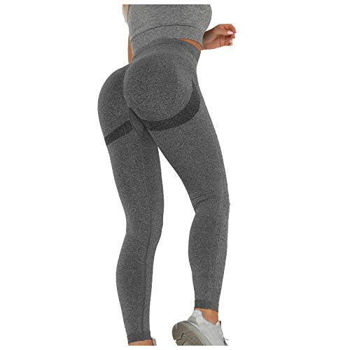 Leggings para mujer, cintura alta, yoga, ciclismo, gimnasio, anticelulitis, sexy, jegging, de compresión, para correr, para hacer ejercicio gris oscuro L