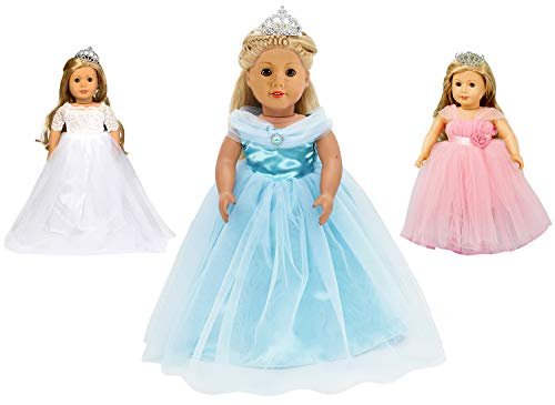 HWD 3 Sets Girls Doll Clothes Outfits and Accessories , Princess Costume , Bride Wedding Dress , Party Gown Dress for American 18 inch Dolls