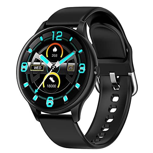 Reloj Inteligente para Mujer K21 Termómetro Corporal Pulsera Impermeable Reloj Inteligente para Hombre Pulsera de Seguimiento de Actividad física para teléfono Android iOS - Negro
