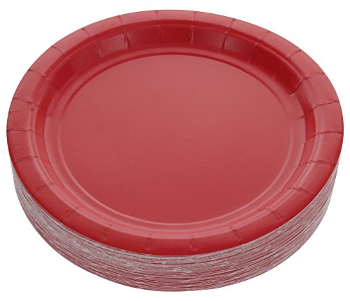 Amcrate Red Disposable Party Paper Dessert Plates 7' - Ideal for Weddings, Party's, Birthdays, Dinners, Lunch's. (Pack of 50)