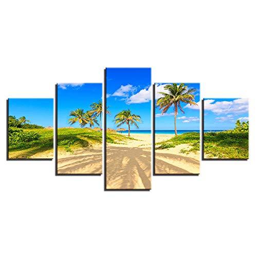 QRTQ canvasdruk 5 panelen 200x100 cm druk canvas schilderij moderne decoratie afbeelding van de wanddecoratie voor woonkamer slaapkamer (geen lijst)