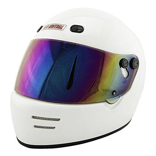 NEO VINTAGE ドラッガースタイル フルフェイス SG規格品 ステッカー付 [ホワイト×レインボーミラーシールド 白 Mサイズ:57-58cm対応] VT-6 バイクヘルメット