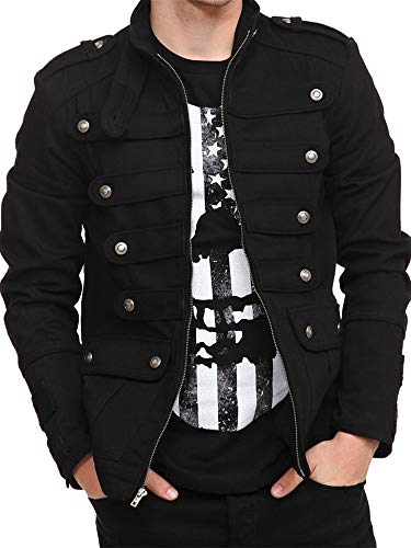 Mens Steampunk Victorian Gothic Military Parade Drummer Jacket Vintage Costume Coats with Pockets Black
