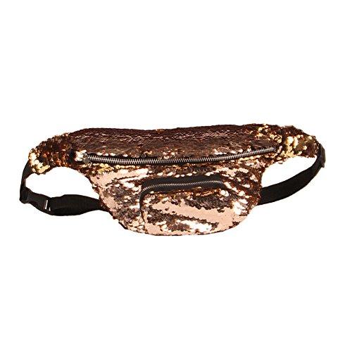 Ocamo Frauen Dazzling Glitter Pailletten Taille Tasche Mode Persönlichkeit Umhängetasche Umhängetasche Champagne Gold
