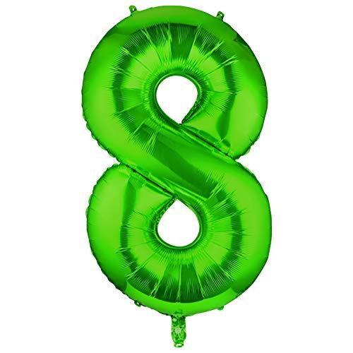 Siumir Globo de Número Verde Globo Número Grande Número 8 Papel De Aluminio Globo Decoración de Fiestas de Cumpleaños