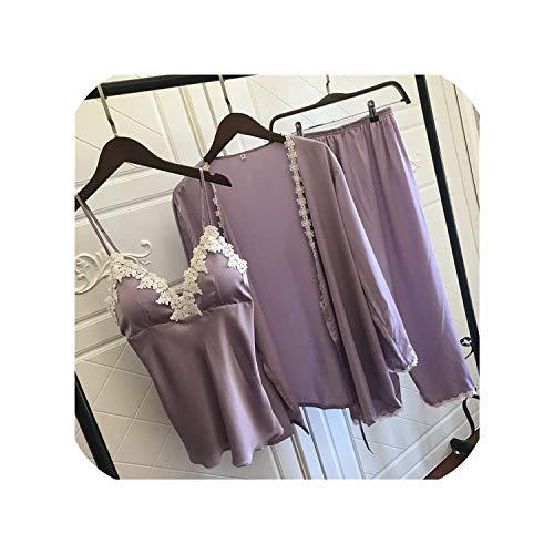Pijama de satén para mujer elegante 3 piezas ropa de dormir mujer sexy encaje en todas las estaciones pijama de seda conjunto abrigo+chaleco+pantalones