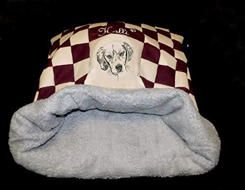 LunaChild Dog Cuddly Collar Dog Bed Beagel 1 Nombre Snuggle Bag Tamaño S M o L disponible en 14 colores