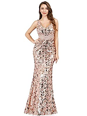Women's V Neck Sequins Evening Dress Mermaid Prom Gown for Women Rose Gold US12