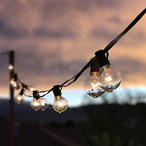 Qomolo Catena Luminosa Lampadine da Esterno Interno G40 Bulbi 40pcs Lampadine Bianco Caldo 9.5m Luci Decorativa da Interni e Esterni per Casa Festa Giardino Natale Bar Matrimonio