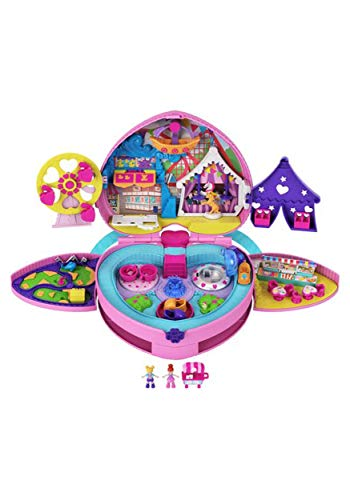 Polly Pocket Tiny is Mighty Theme Park Backpack Compact with Adjustable Straps, 2 Micro Dolls, Ice Cream Cart & Rides For Ages 4 Years Old & Up