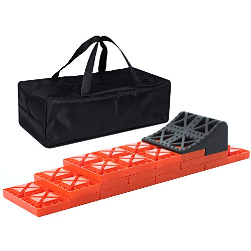 Homeon Wheels RV Leveling Blocks, One Top Tire Wheel Chock and 9 Pack Interlocking Leveling Blocks with Carrying Bag, Heavy Duty Camper Leveling Blocks and Chocks Anti-Slip Pads Design (WH-301)