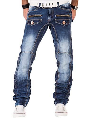 Kosmo Lupo Herren Jeans Denim Hose Japan Style Vintage Clubwear Chino Used Blau (W36/L34)