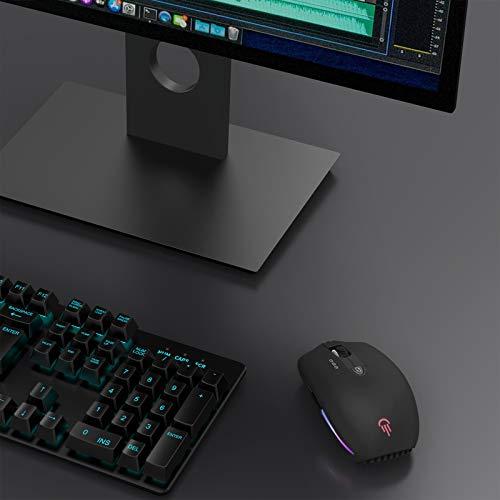 Jelly Comb Beleuchtete Kabellose Maus, Wiederaufladbare Funkmaus, Dual Bluetooth und 2.4G Maus für Tablet/Computer/Handy unter iOS/Android/Windows System, Schwarz